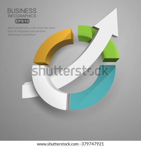 3d business chart circular arrow inside