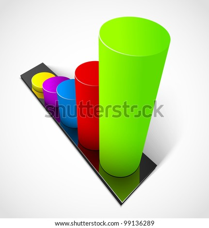 3d business colorful graphs. Vector illustration - stock vector