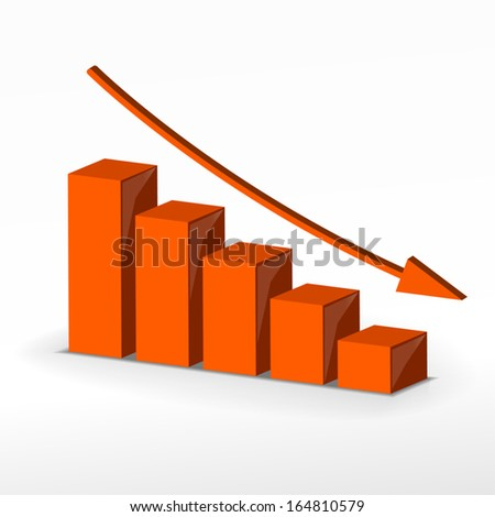 3D business decline graph. Business concept This is Raster version.  - stock vector