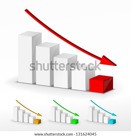 3D business decline graph set - stock vector