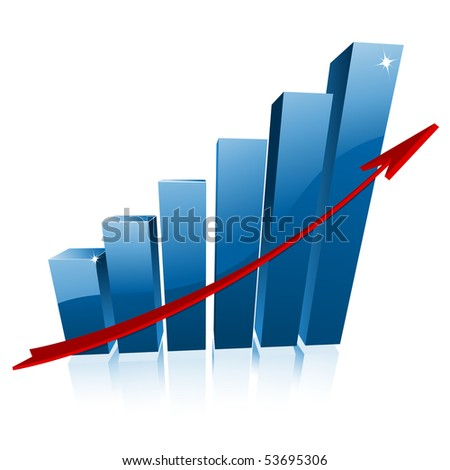 3d business graph vector illustration - stock vector