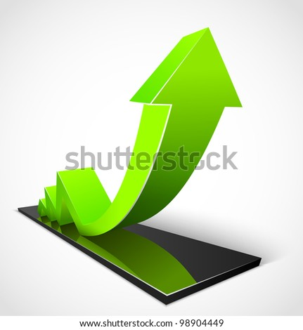 3d business green arrow graphs. Vector illustration - stock vector