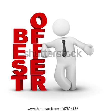3d business man presenting concept of best offer isolated white background