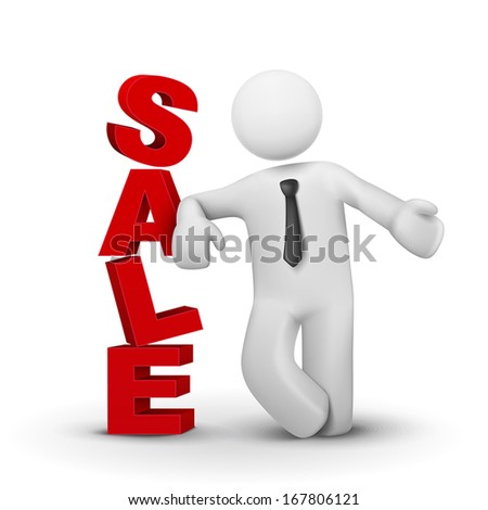 3d business man presenting word sale concept isolated white background - stock vector