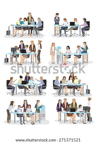 3D Business People, Different Situation Set - Isolated On White Background - Vector Illustration, Graphic Design Editable For Your Design   - stock vector