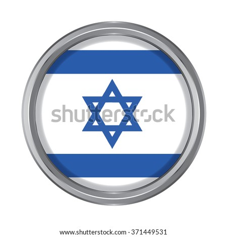3D button Flag of Israel. Vector illustration. - stock vector