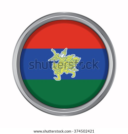 3D button Flag of Kayah Districts / Regions / States of Myanmar. Vector illustration. - stock vector