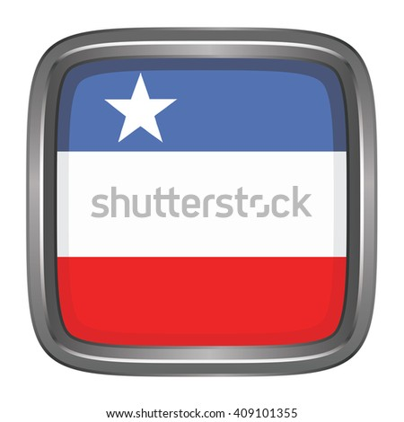 3D button Flag of Kayin Districts / Regions / States of Myanmar. Vector illustration. - stock vector