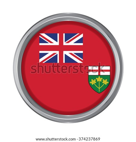 3D button Flag of Ontario Province or territory of Canada. Vector illustration. - stock vector