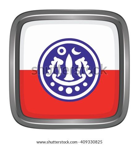 3D button Flag of Rakhine Districts / Regions / States of Myanmar. Vector illustration. - stock vector