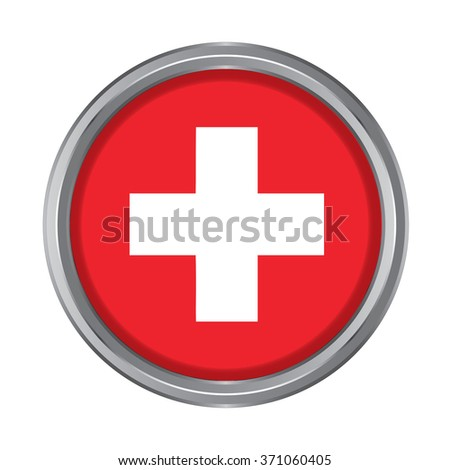 3D button Flag of Switzerland. Vector illustration.