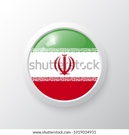 3D Button with Iran flag. as round glossy icon on background isolated. Vector illustration eps 10.