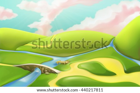 3d cartoon nature landscape with bridge, vector illustration with meadows, hills, river, and cloudy sky. Summer scenery with roads, countryside panorama, can be used as a game basic background - stock vector