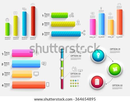 3d chart diagram business presentation. Realistic vector illustration design concept. Set of Infographic symbols elements graph bar - stock vector
