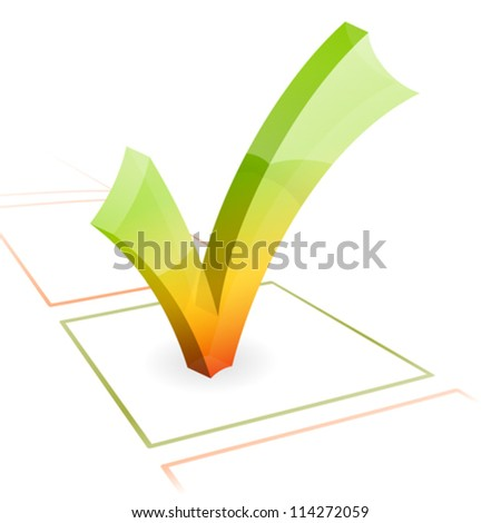 3D Check Mark, isolated on white, vector illustration - stock vector