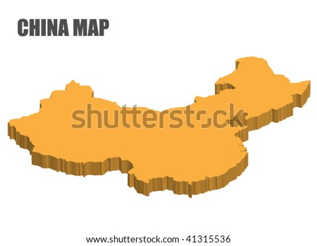 3D china map - stock vector