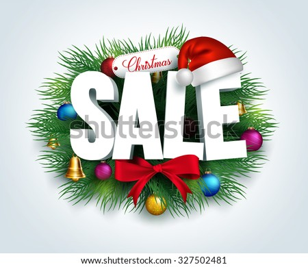 3D Christmas Sale Text for Promotion with a Leaves and Christmas Decorations in White Background. Realistic Vector Illustration  - stock vector