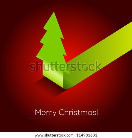 3D Christmas tree vector background | EPS10 Design - stock vector
