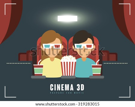 3d cinema concept in flat design style - stock vector