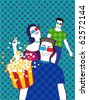 3D Cinema. People watch film and laugh. - stock
