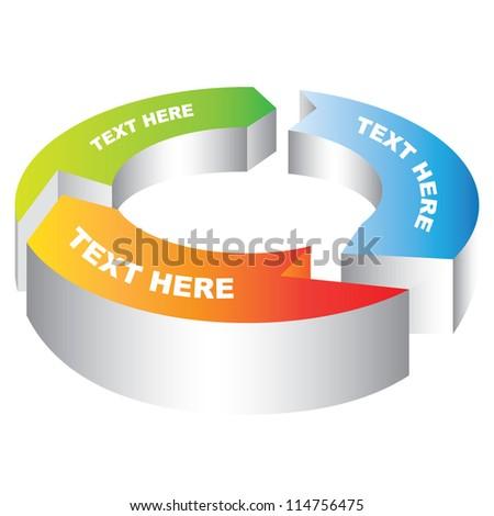 3D Circular Arrow Diagram, - stock vector