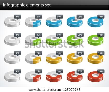 3d circular diagrams and percent vector design elements - stock vector