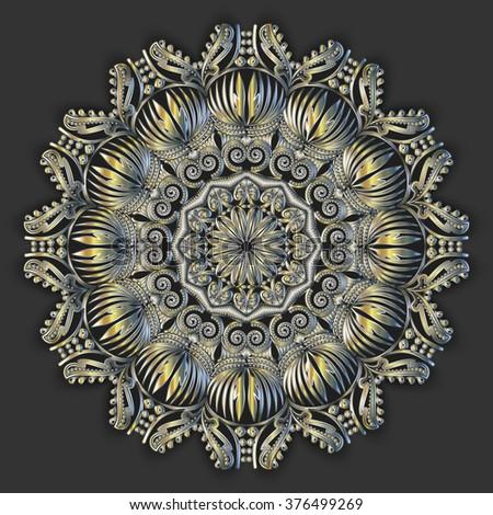 3d circular medallion, royal decorative symbol, relic,vector,  element, metal . Metallic medallion. Vector mandala. Vector pattern. Ethnic decorative round mandala. - stock vector
