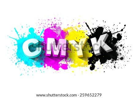 3d CMYK letters with paint splash background, Logo Symbol, Vector illustration - stock vector