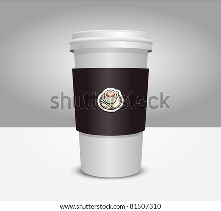 3d coffee cup vector illustration - stock vector