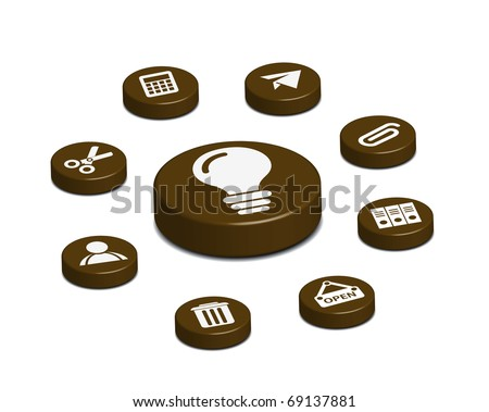 3d coffee web button set, web Site & Internet design element.