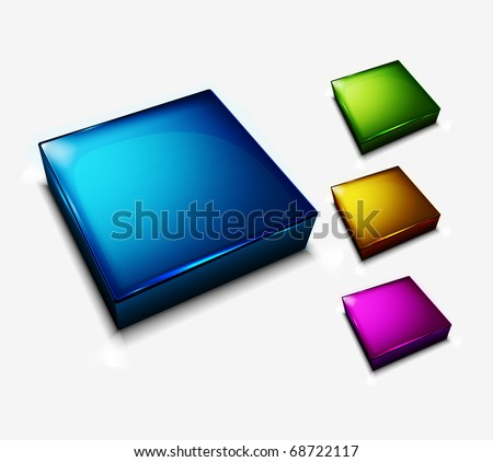 3d collection of Four glossy buttons design with various of your colors choice. - stock vector