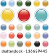 3d color glossy circle buttons, vector - stock photo