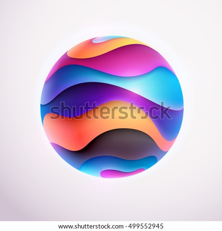 3D colored striped ball