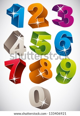 3D colorful bold numbers vector set, happy childish style.