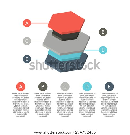 3d colorful isometric chart made of differently sized hexagonal cylinders. Isolated vector illustration. - stock vector