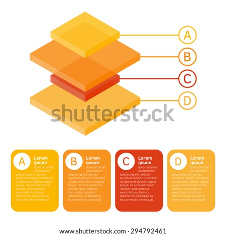 3d colorful isometric  chart made of differently sized rectangular parallelepipeds. Isolated vector illustration. - stock vector