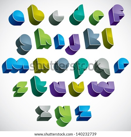 3d colorful letters futuristic alphabet, dimensional geometric font in blue gray and green colors, bright and glossy letters for design and advertising. - stock vector