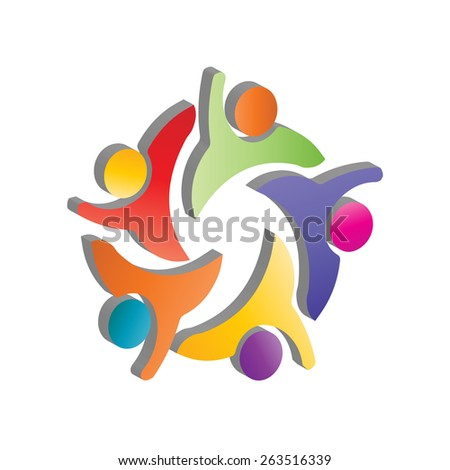 3D colorful people, children, employees icons collection set - vector graphic. This illustration also represents love, unity, solidarity, alliance, union, teamwork, organization, together, group - stock vector