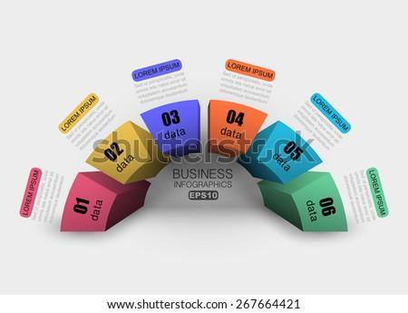 3d column chart semicircle step data - stock vector