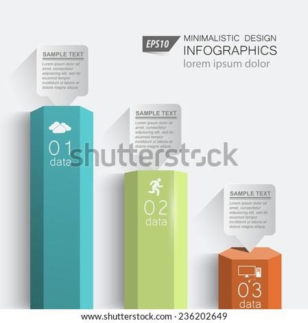 3d columns digital data / element vector graphics business - stock vector