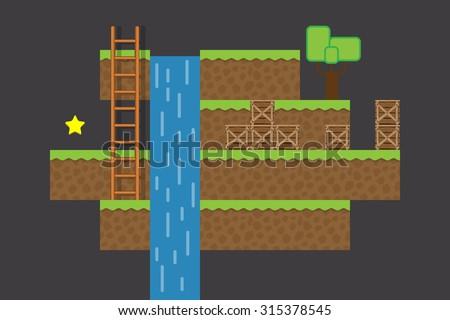 2d computer game world - arcade platformer - stock vector