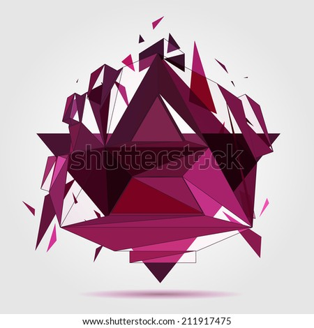 3D concept illustration. Crushed geometric object. Vector Abstract template. - stock vector