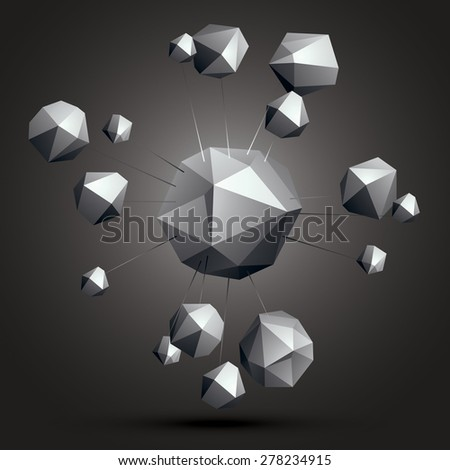 3D contemporary style abstract complicated object, cybernetic futuristic form. Technology theme shapes - stock vector