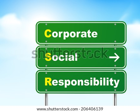 3d corporate social responsibility road sign isolated on blue background - stock vector