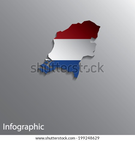 3D Country Map Layout of Netherlands. Effects of Gradient tool and Blend Tool used in this file. - stock vector