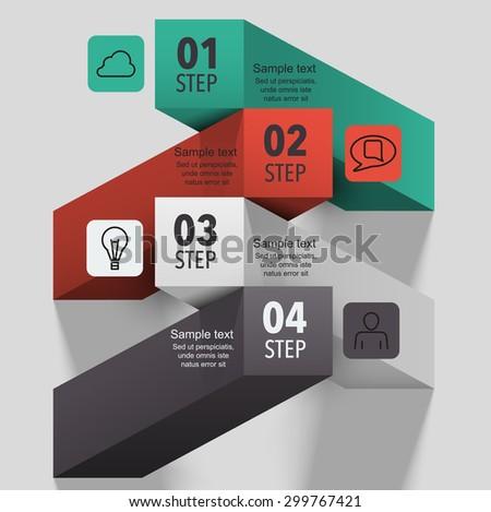 3d creative infographic columns step design - stock vector