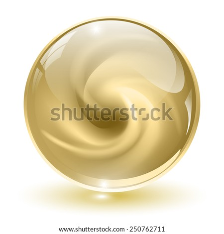 3D crystal, glass sphere, beige with abstract spiral shape inside, vector illustration. - stock vector