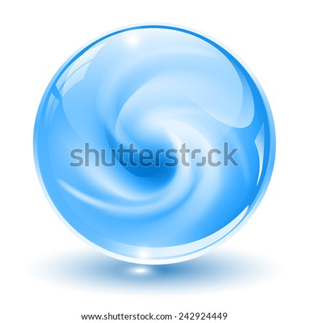 3D crystal, glass sphere, blue with abstract spiral shape inside, vector illustration. - stock vector