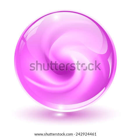 3D crystal, glass sphere, pink with abstract spiral shape inside, vector illustration. - stock vector
