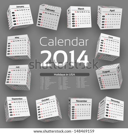 3d cube calendar 2014 - stock vector